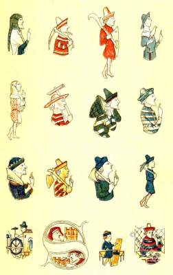 Italian craftsmen. Medieval clothing. Middle ages 14t century habits