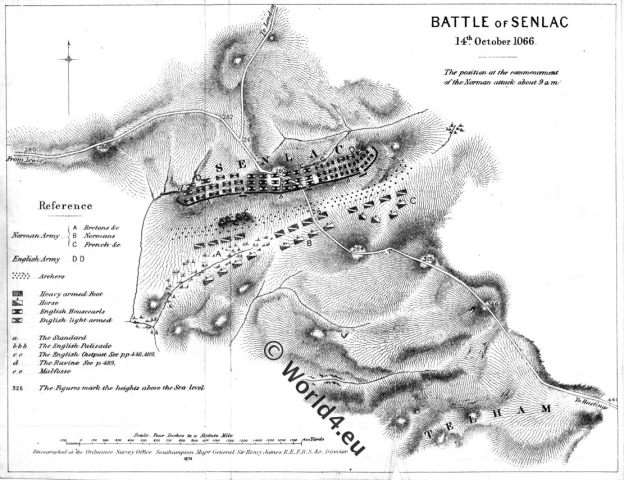 Map,Battle, Hastings,Senlac,normann,anglo-saxon,11th century, william the conqueror