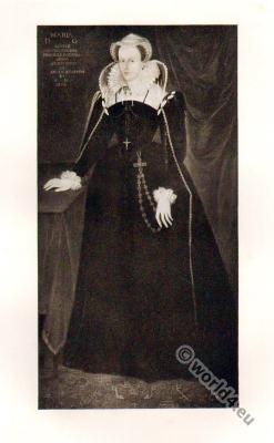 Mary Stuart. Rosary Crucifix.Queen of Scotland. Renaissance costume