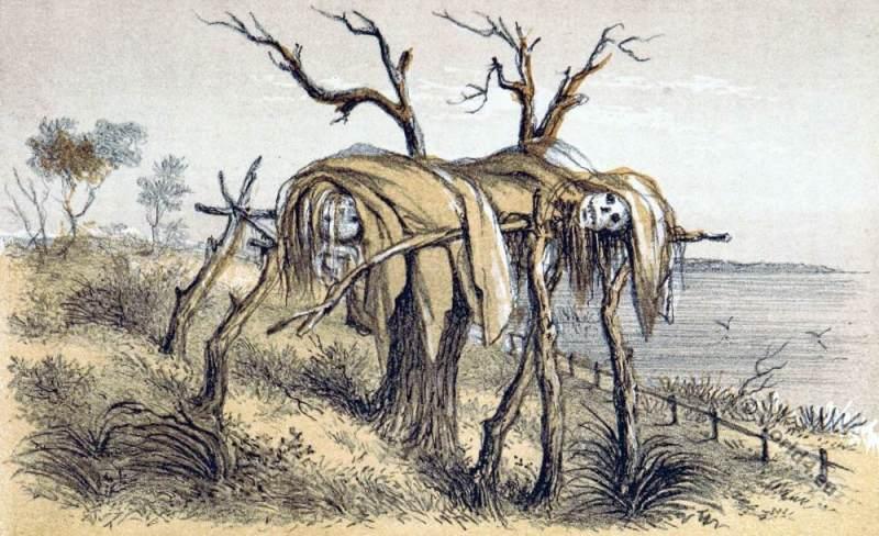 Stage bearing dead bodies. Native Aboriginals Australia