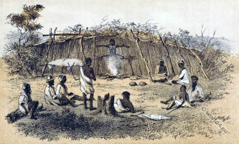 Drying a Dead Body native Aboriginals Australia. South Australia Tribe.