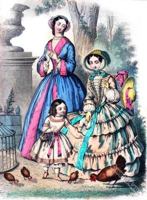 Crinoline fashion. La Mode. Romantic era costumes. Biedermeier fashion.