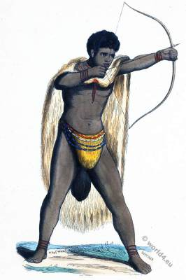 South Africa. Warrior Namibia, Hottentot. Historical clothing.