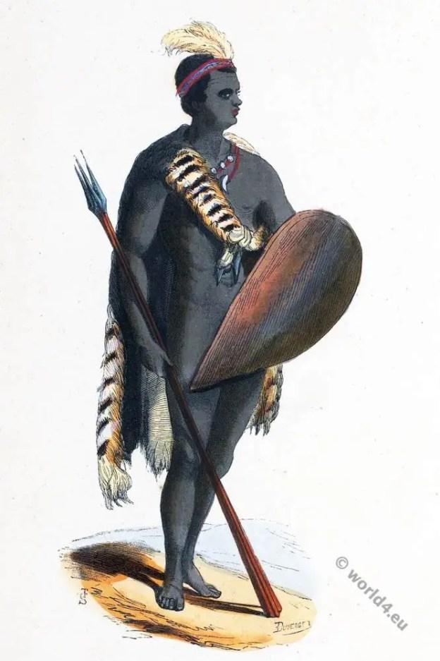 South Africa, Namibia. Bantu, Xhosa warrior. Historical clothing.