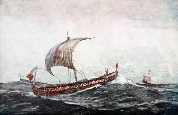 Viking ships. Alfred the Great