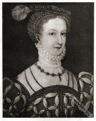 Portrait Mary Stuart. Quenn of scotland. Tudor era costume.