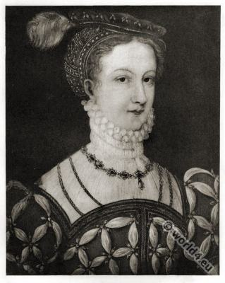 Portrait Mary Stuart. Quenn of scotland. Tudor era costume.