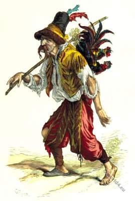 Soldier adventurer looter clothing. Renaissance era, 16th century costumes.