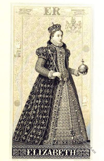 Elisabeth I Queen,England. Queen Bess. Tudor clothing 16th century
