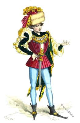 Middle ages stylish fashion. 15th century costume. Burgundy dress,