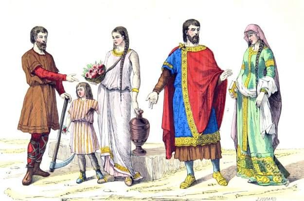 Noble family, laborers, 5th century, clothing. Celtic, Gaul, Merovingian
