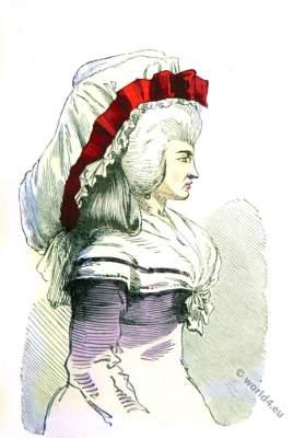 Bonnette du Matin. Modes de Paris.Ancien Régime era. Headdress Rococo era.