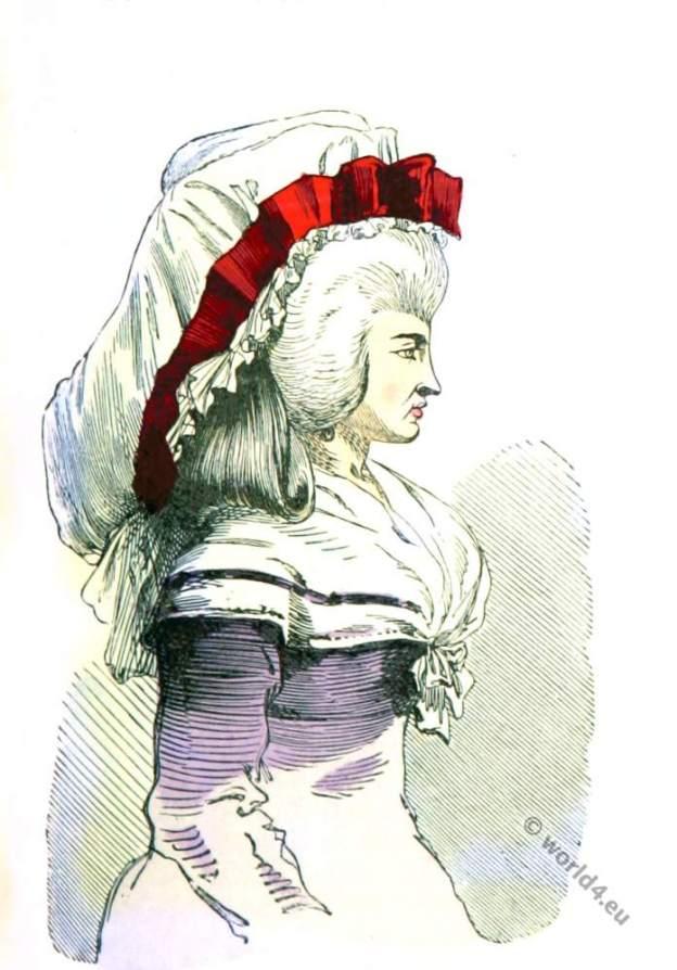 Bonnette du Matin. Modes de Paris.Ancien Régime era. Rococo fashion.