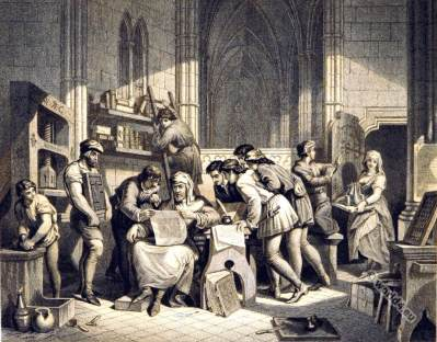 William Caxton. England printing history. Medieval clothing.