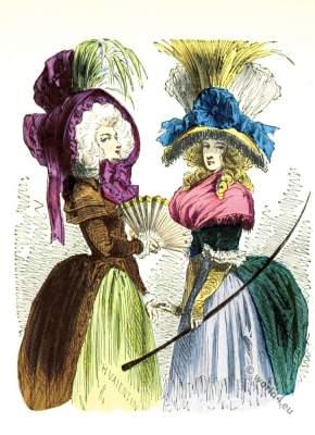 Chapeau Bateau Renverse. Rococo fashion. Modes de Paris. French Ancien Régime era.