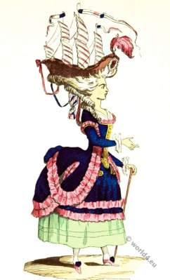 Coiffure à la Belle-Poule. 18th century rococo hairstyle fashion