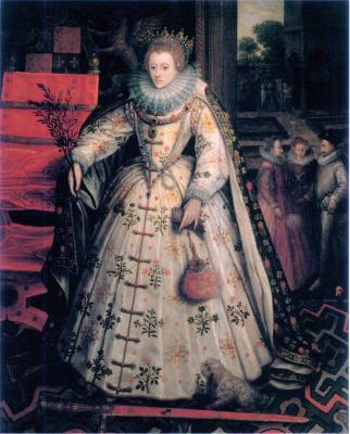 Tudor queen Elizabeth I. 16th century costumes. Marcus Gheeraerts the Elder..