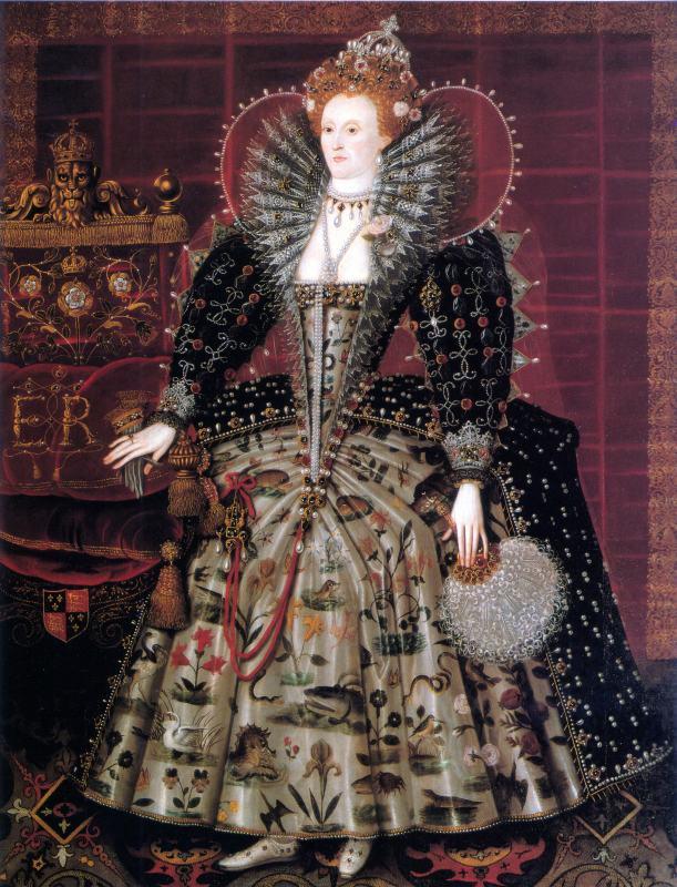 Queen Elizabeth I of England. Tudor era. 16th century costumes.