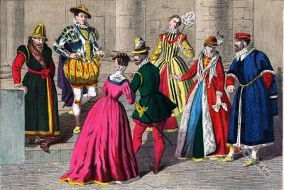 England Tudor clothing 1550 to 1580. Renaissance era.