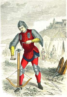French Crossbowman. 15th century clothing. Middle ages soldier.