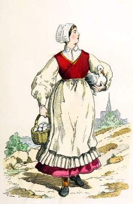 French Peasant Woman clothing. Middle ages costume 15th century.