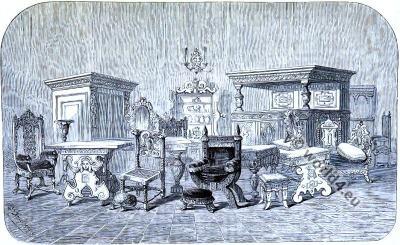 English Furniture. 16th century. Elizabethan era. Tudor. Antique.