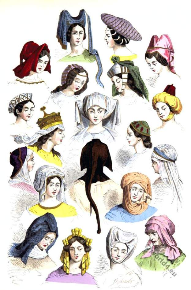 Medieval woman hats and hairstyles of the 15th and 16th centuries. Burgundy, Gothic fashion era