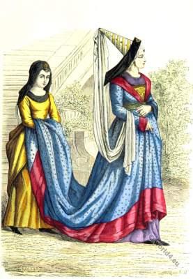 Medieval Bourgeois, servant costumes. 15th century clothing. Burgundy, gothic fashion era.