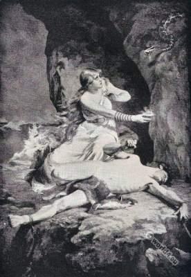 Loki and Sigyn. Northern Mythology.