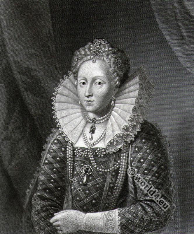 Queen Elisabeth the first . 16th century clothing. Tudor era costumes.
