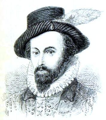 Sir Walter Raleigh. Tudor era costume. English sailor. Queen Elizabeth I.