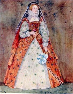 England lady clothing. Tudor costumes. 16th century fashion.