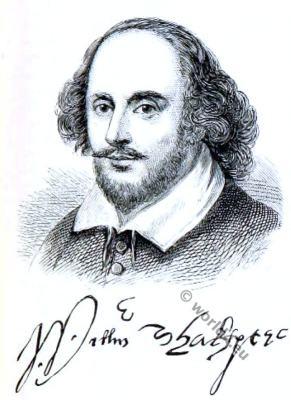 William Shakespeare. Tudor era. English dramatist, poet and actor.