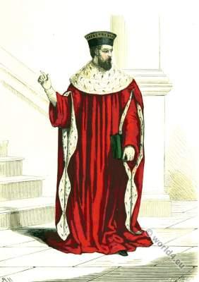 First President. Parliament Paris. 16th century costume. Renaissance fashion