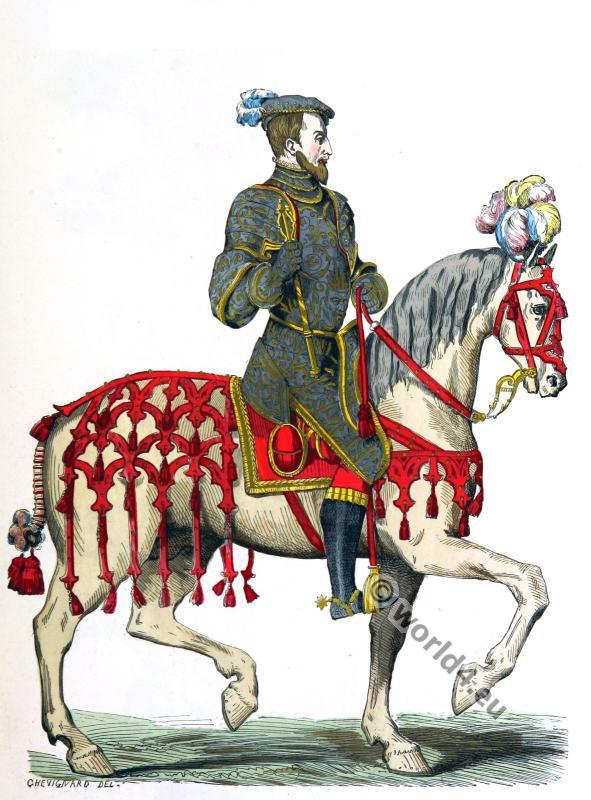 French king Henry II. Renaissance era. 16th century costumes