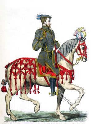 French king Henry II. Captain Chevau-Légers. Renaissance era. 16th century costumes