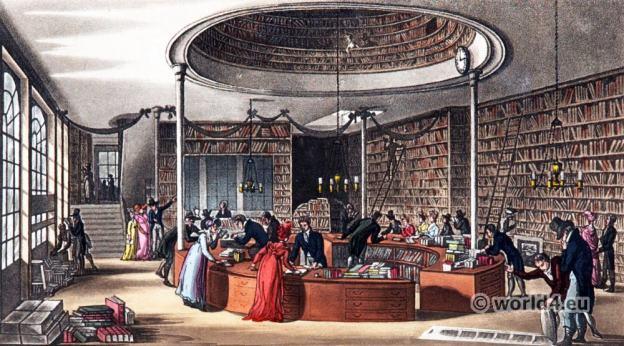 bookstore, Interior, England, Regency, architecture, London, Rudolph Ackermann,