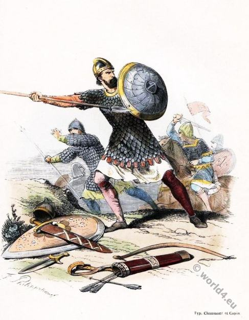 Brigandine. French infantry warrior. Middle ages soldier. 10th century military.