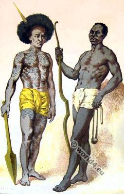 Armed Warriors. Tattoo Papua New Guinea tribals.