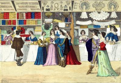 Baroque fashion. 17th century shop. Louis XIII costumes.