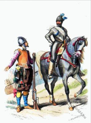 Arquebusier. Captain of Gendarme. 16th cnetury soldiers. Baroque soldiers uniforms