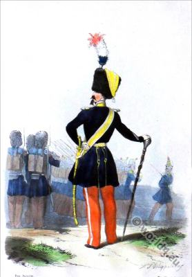 Light infantry uniform. Drum Major. French military costumes.