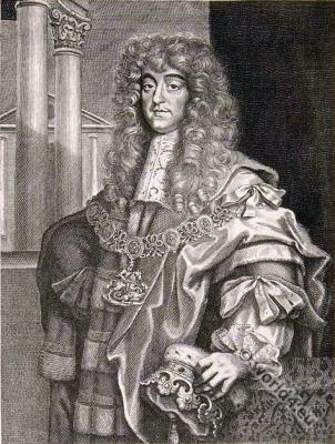 George Villiers, 2. Duke of Buckingham. England nobility. Baroque fashion.