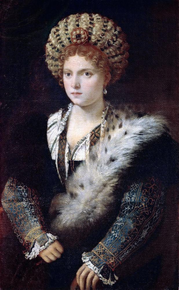Isabella d'Este. Titian. Renaissance portrait. Renaissance fashion