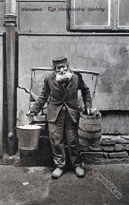 Jewish character. Jewish porter. Jew Warsaw, Poland. Jewish traditional clothing and costumes.