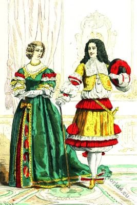 French prince. Maid of honor. Louis XIV costumes. Baroque fashion