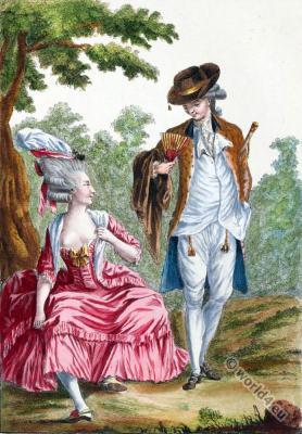Petite robe ouverte et décolletée. 18th century costume. Rococo fashion. Fashion history.