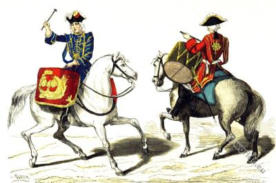 Timpanist and Drummer on Horse. 17th century fashion. Baroque uniforms. Military costumes.