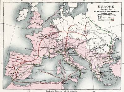 Barbarian migration maps. Barbarian Migrations history. Europe Apres l'Invasion de Barbares.