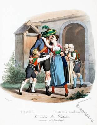 Tyrol national costumes. Austrian traditional folk dress. Innsbruck Partisan.